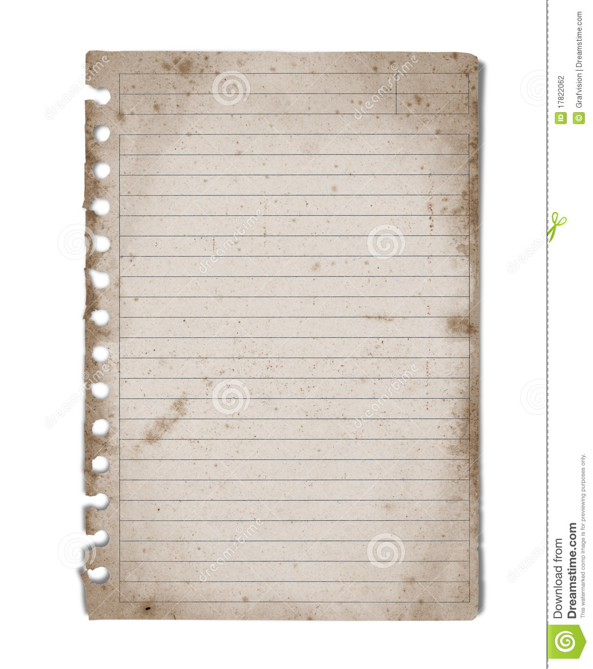 Vintage blank note paper from notebook with lines isolated on white ...