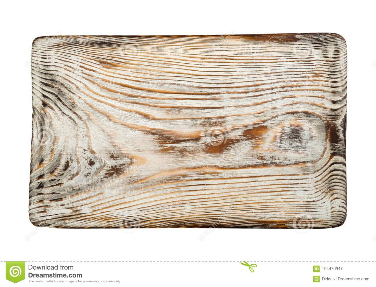 Vintage bleached cutting board top view isolated on white background