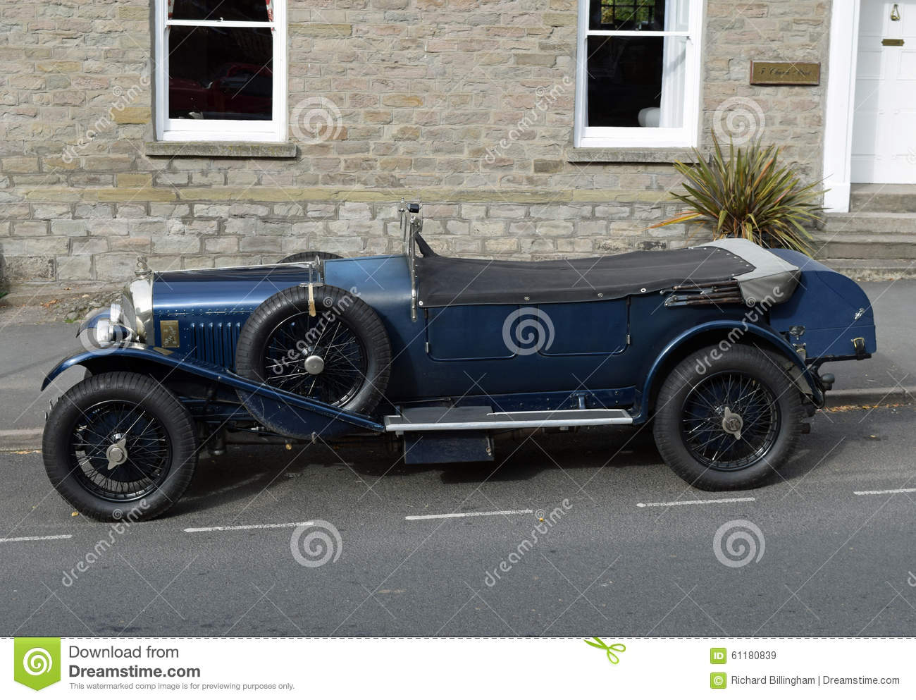 Vintage Blue Bentley Convertible Car In Hay On Wye Wales Editorial Stock Image Image 61180839