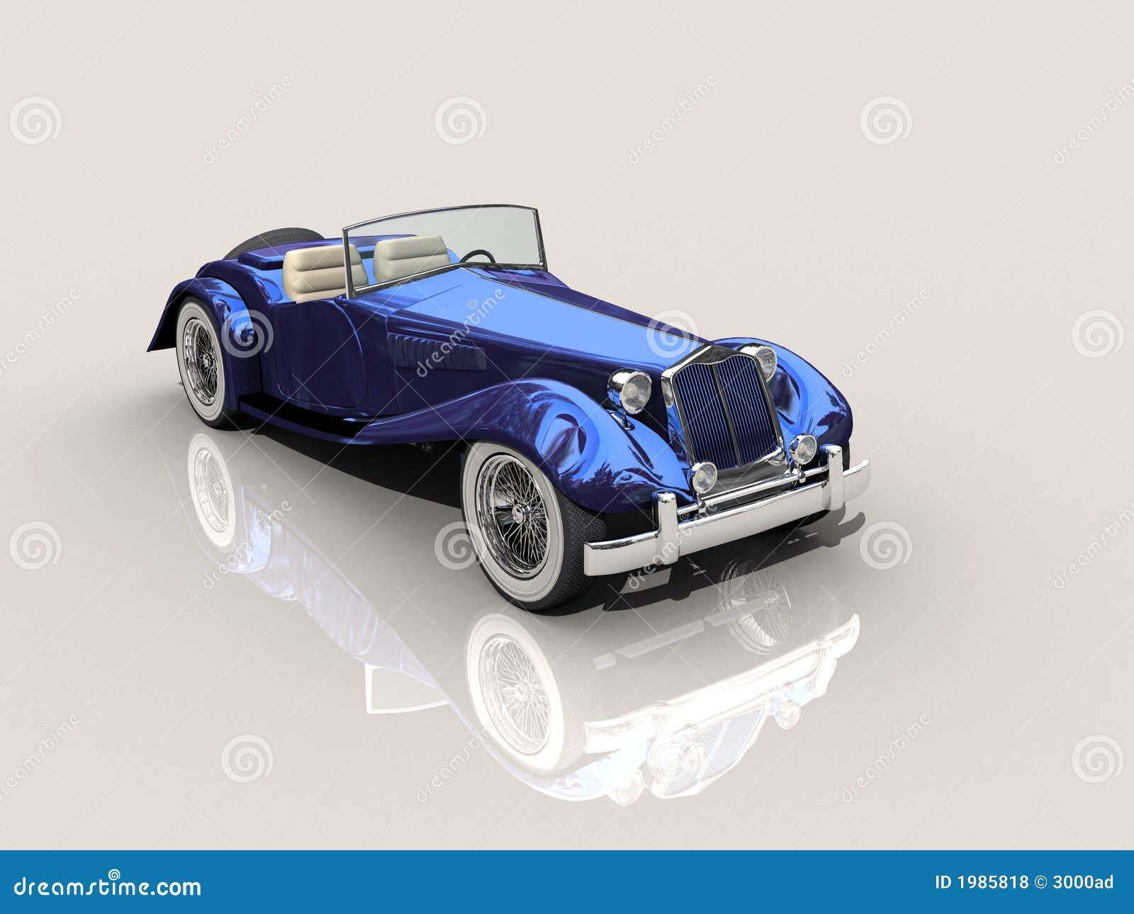 Vintage Blue Car 3d Model Stock Illustration Image Of Rubber
