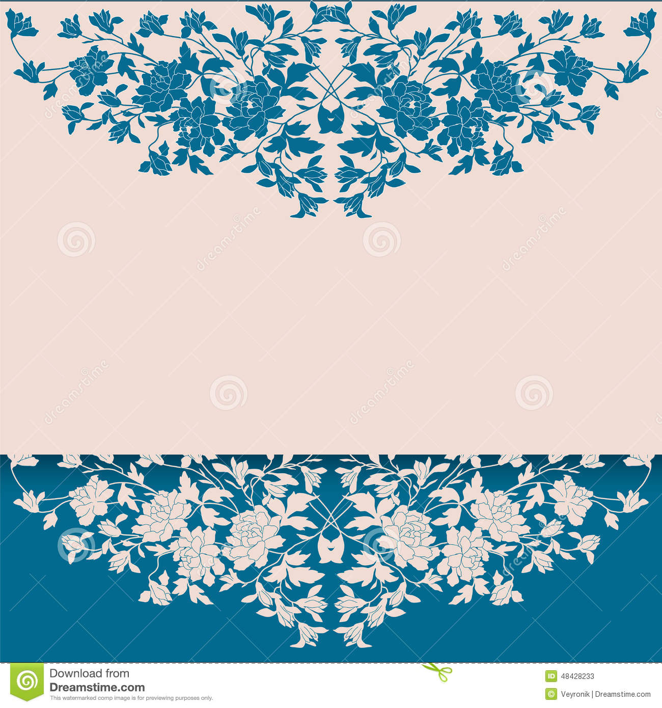 Vintage Blue And Cream Floral Background