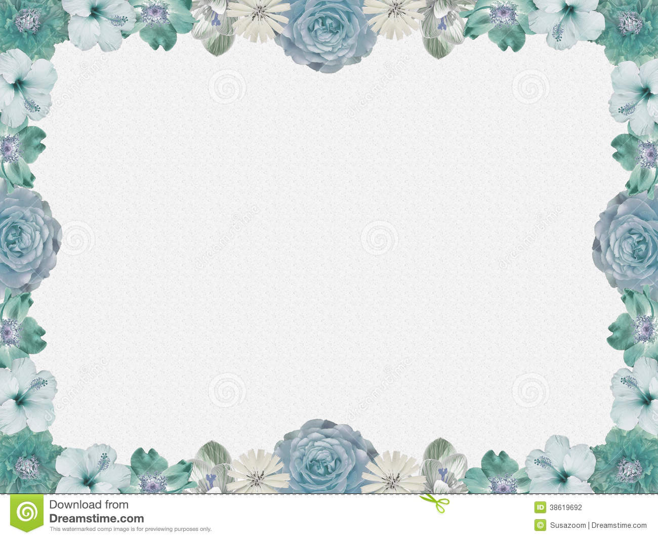 Vintage Blue Flower Frame Sparkled Background Stock Illustration