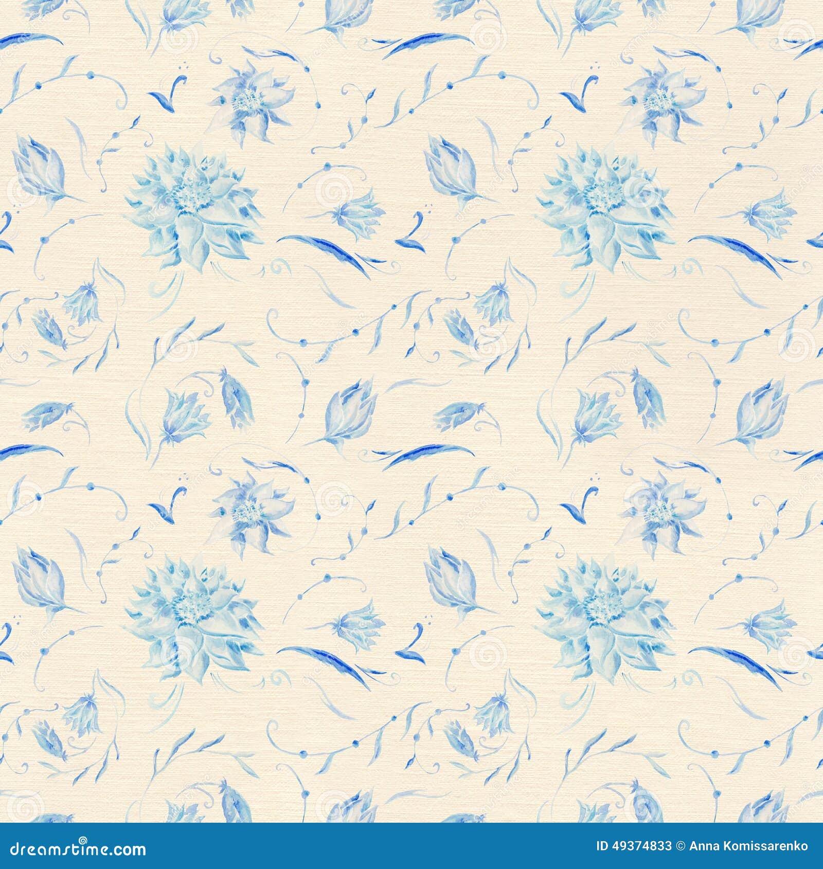 Vintage Blue Flower Pattern Stock Illustration Illustration Of
