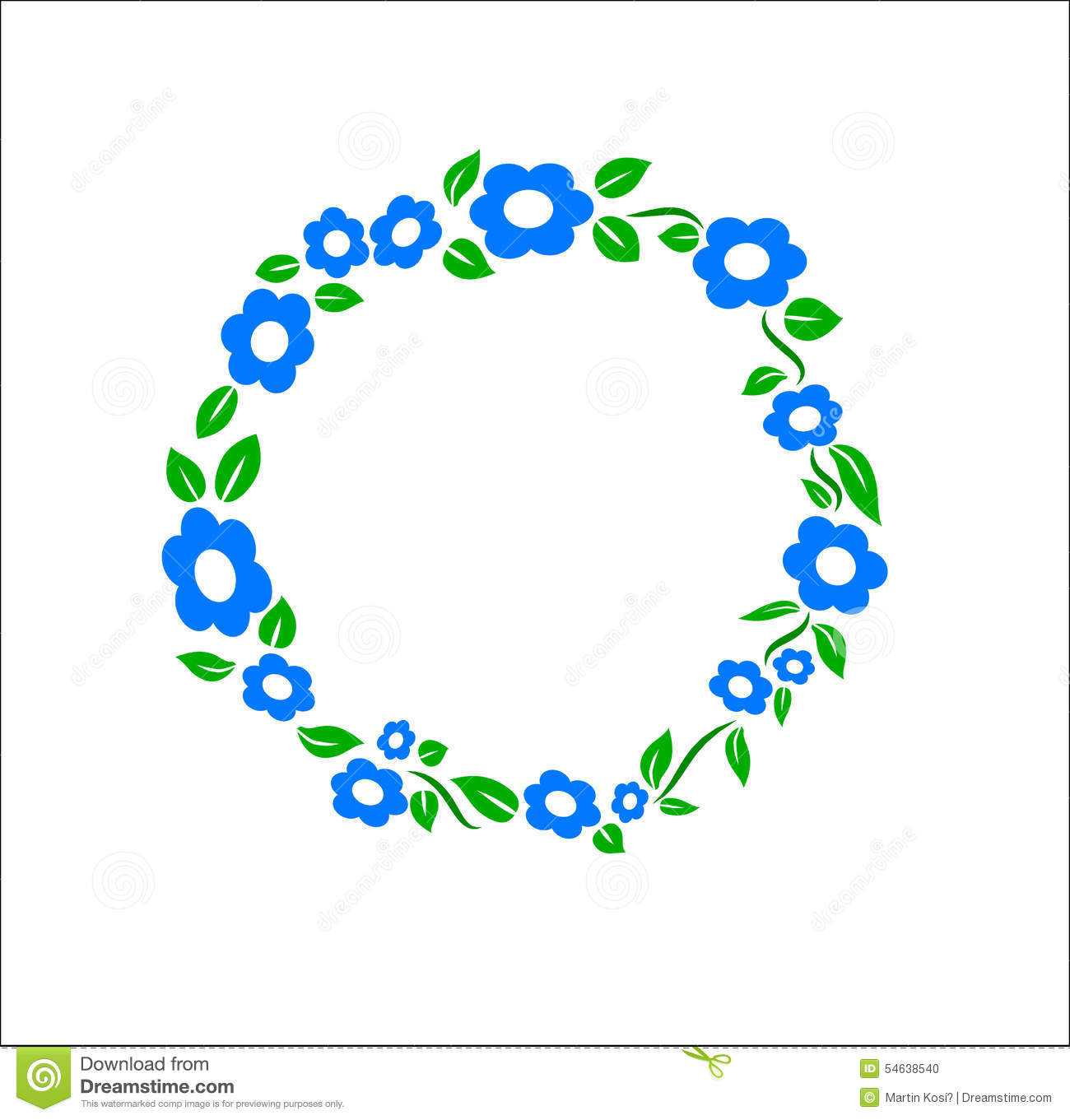 Vintage Blue Flower Ring Frame Decoration Vector Stock Vector