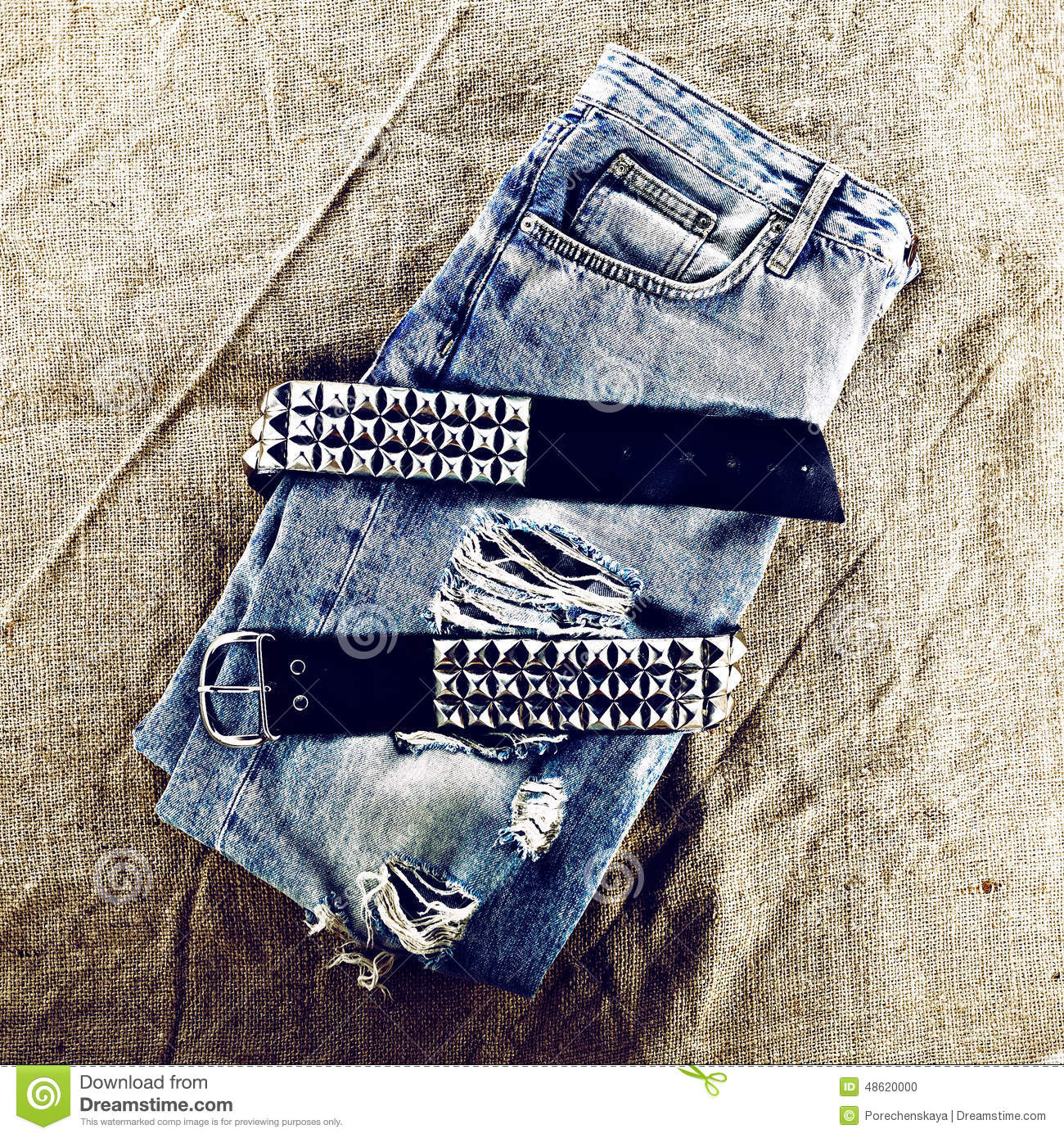 vintage blue with metal grunge fashion style