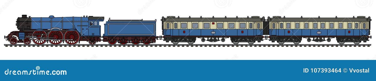 The Vintage Blue Passenger Steam Train Stock Vector Illustration