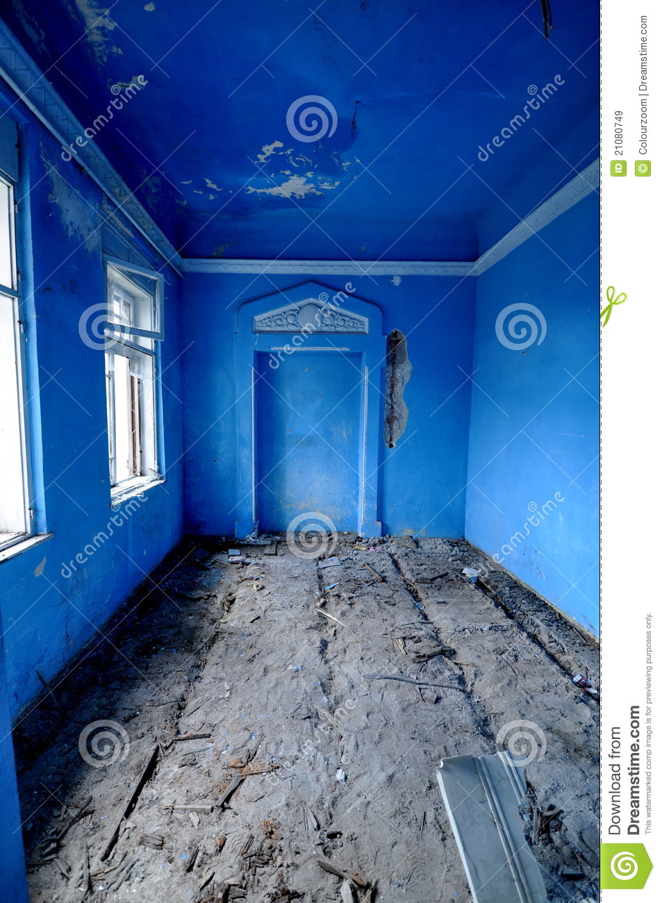vintage blue room stock image image of arch decay columns 21080749