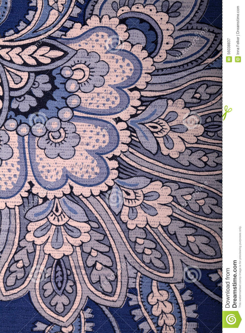 Vintage Blue Wallpaper With Paisley Pattern Stock Photo