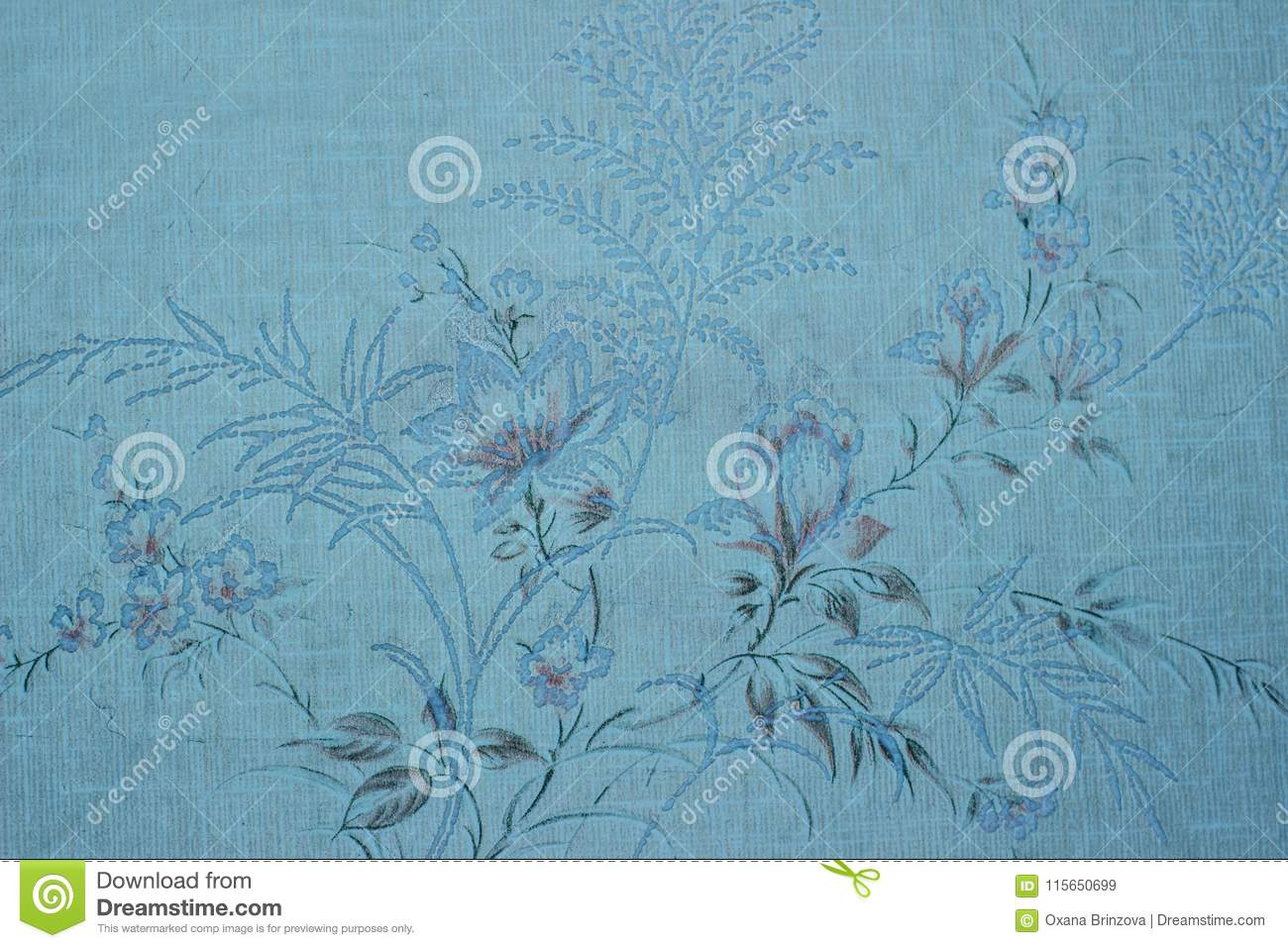 Vintage Blue Wallpaper With Vignette Victorian Pattern Stock