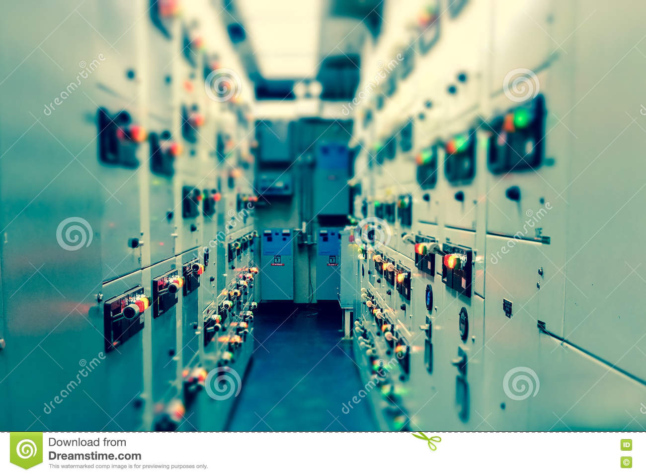 Vintage And Blur Tone Of Electrical Switchgear Room Industrial E