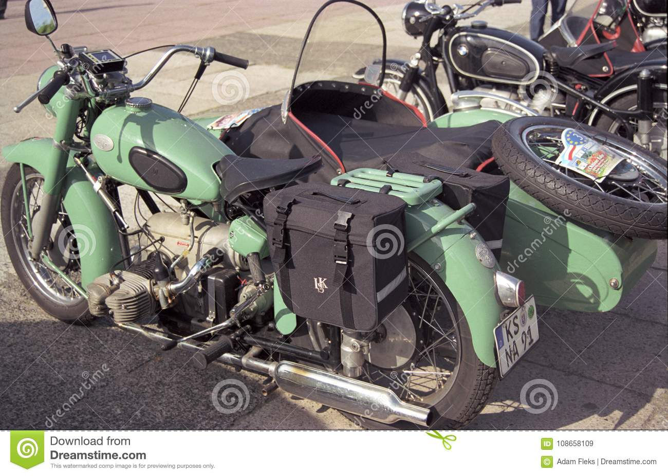 Vintage Bmw Boxer Motorbike Parked Editorial Stock Image Image Of Military Engine 108658109