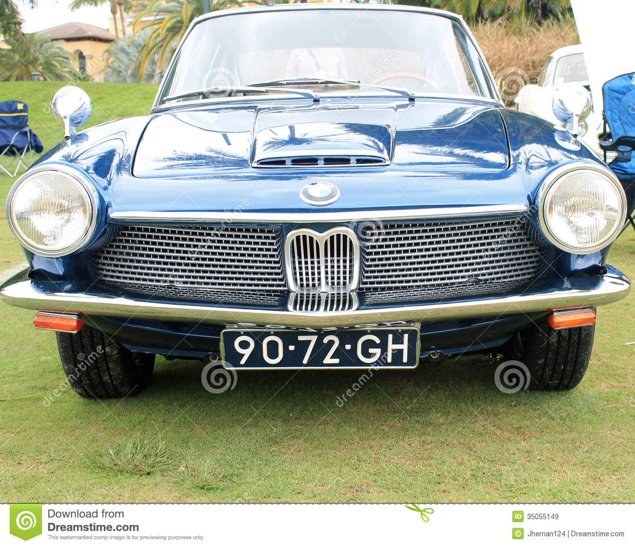 Vintage blue german sports car close up front view. 1967 bmw 1600 gt