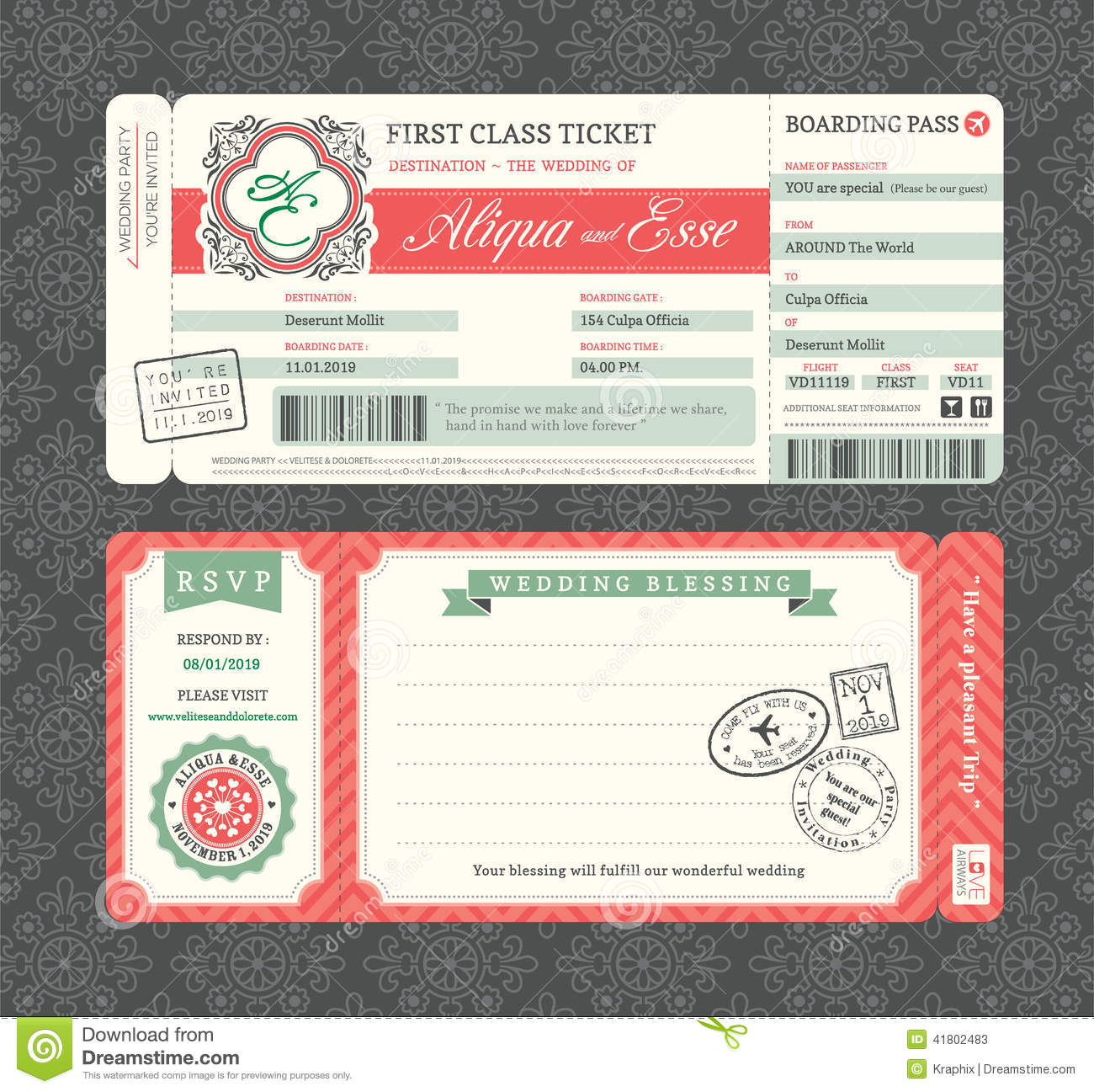 Vintage Boarding Pass Wedding Invitation Template Illustration 41802483    Megapixl  Plane Ticket Invitation Template