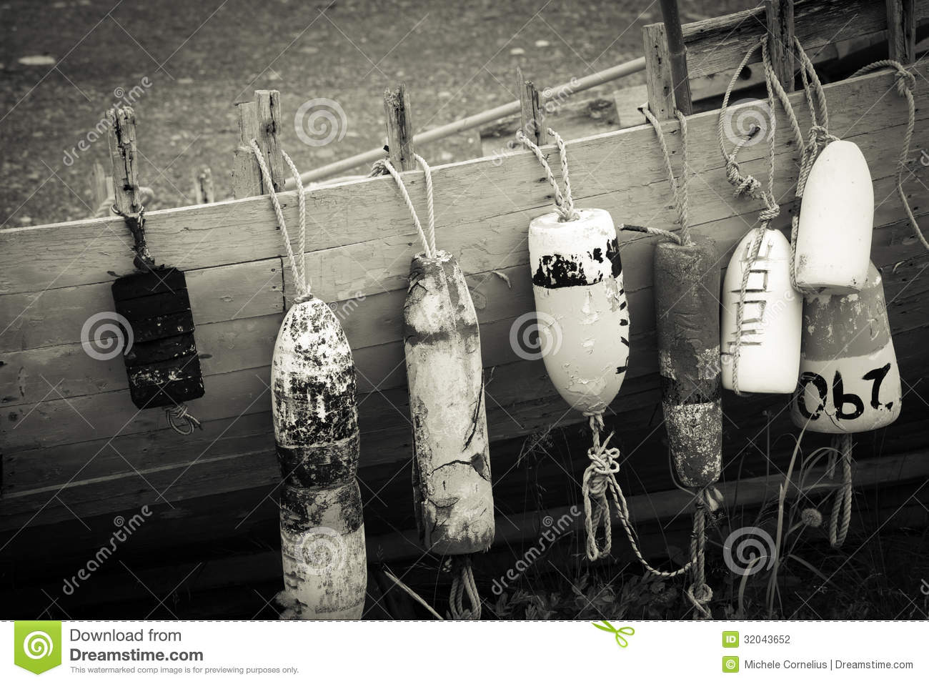 Vintage Boat Buoys And Fenders By The Sea Stock Photo - Image of rope, boating: 32043652