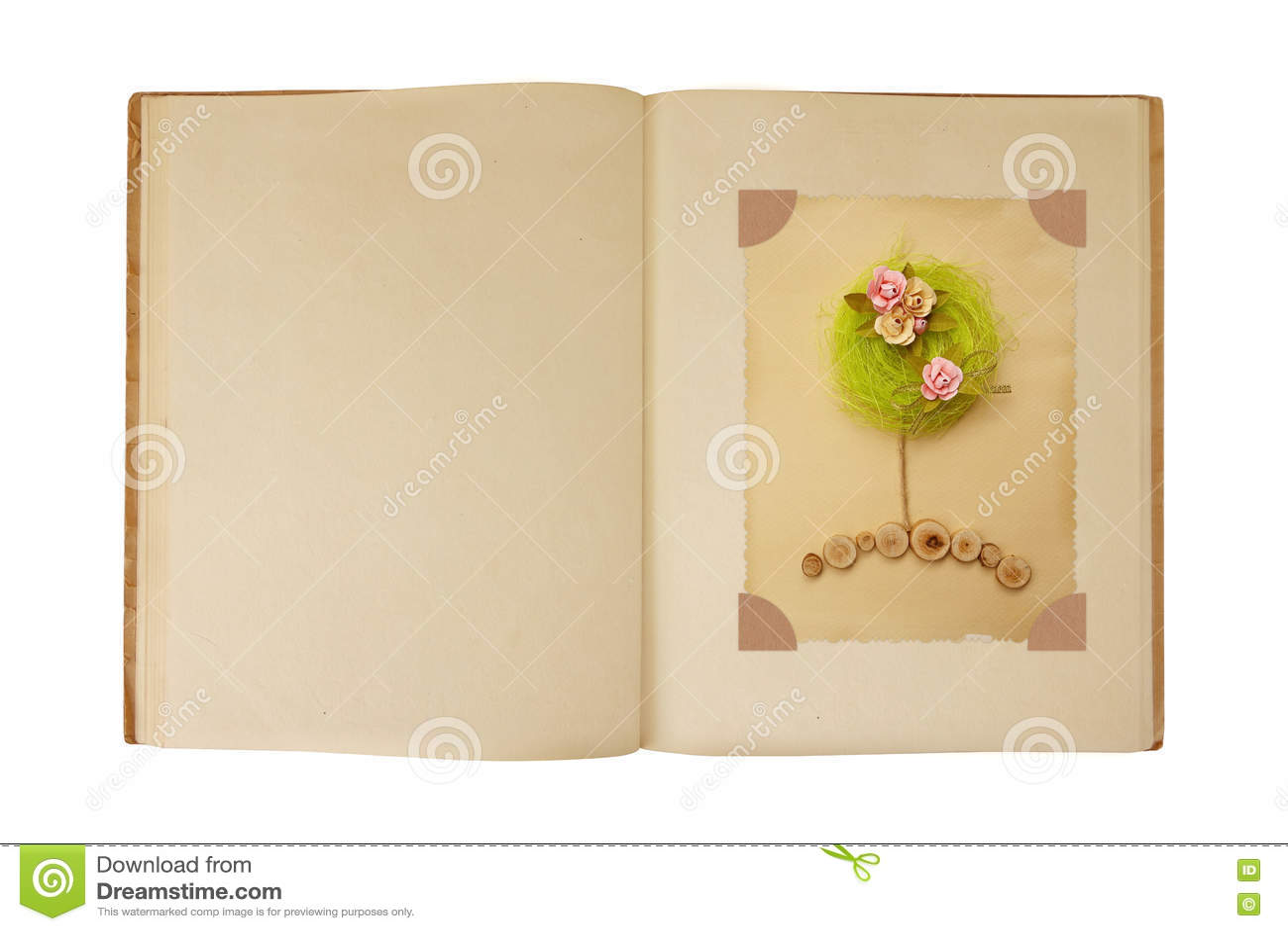 Vintage Book Open With Flower Tree Card Design Inside