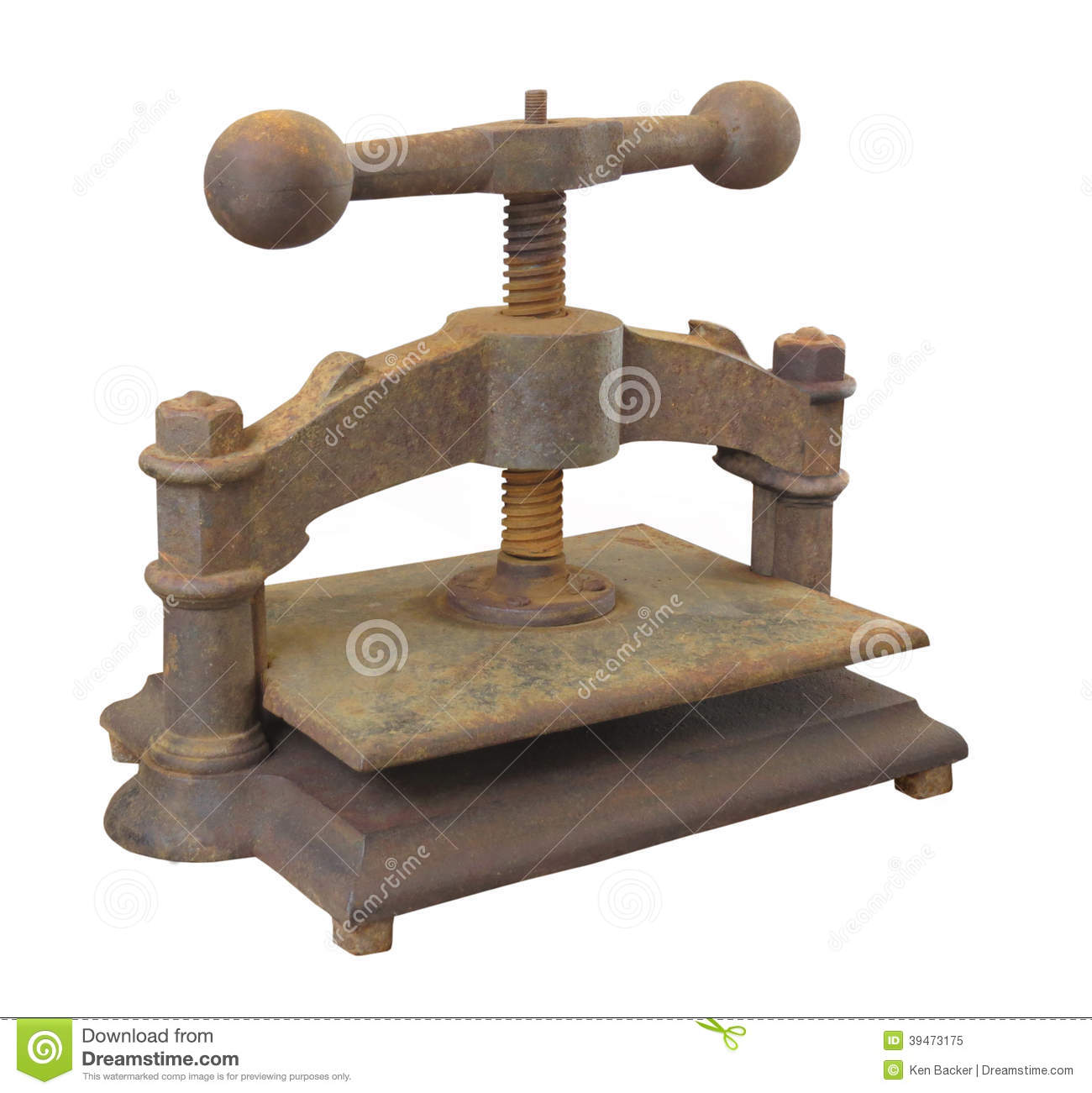 Vintage Book Press Isolated. Stock Image
