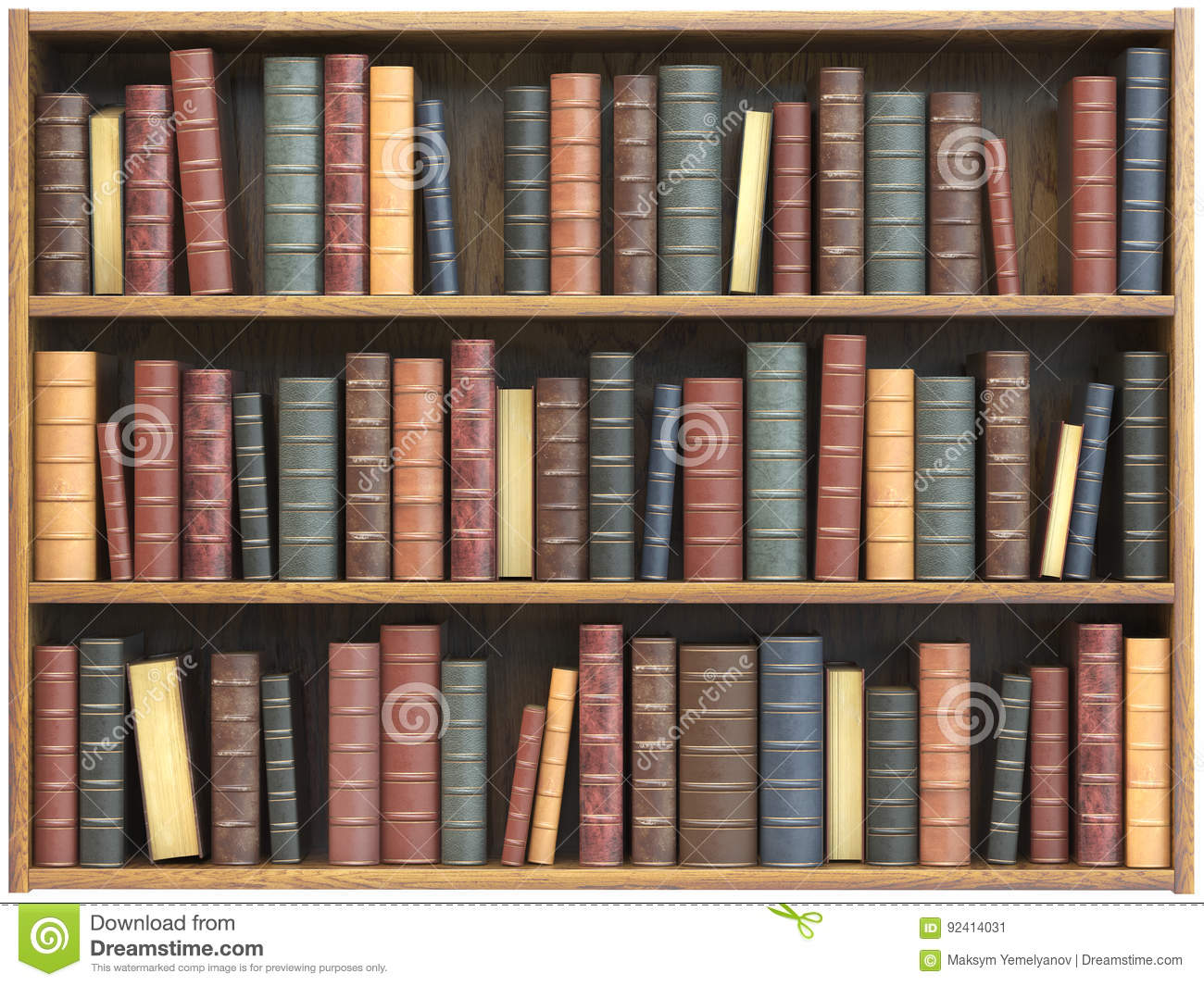 Vintage Books On Bookshelf Isolated White Background Download Preview
