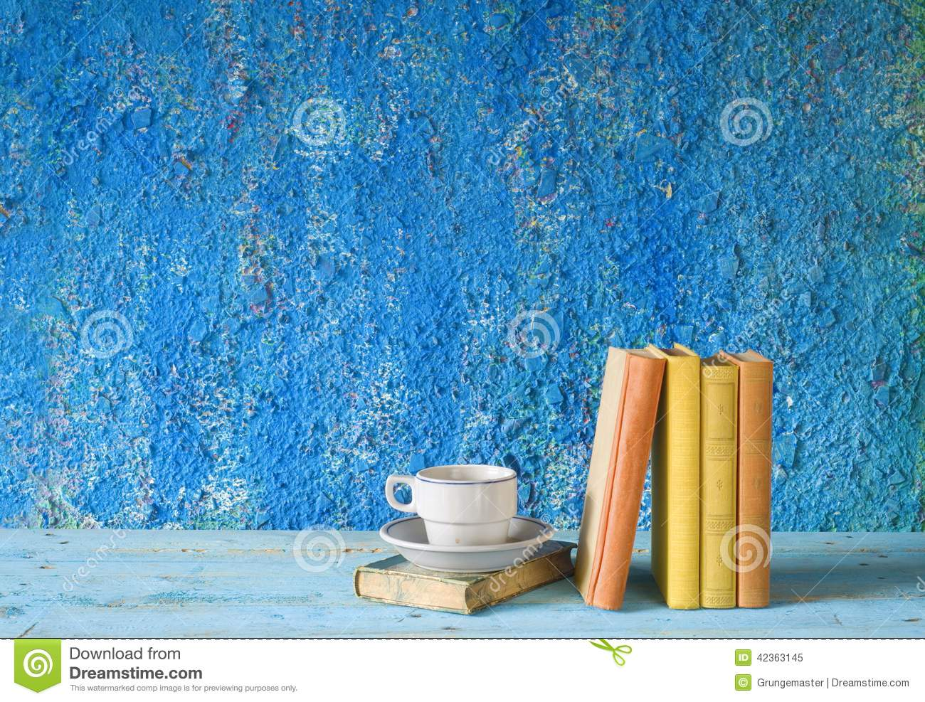 Vintage books, cup of coffee