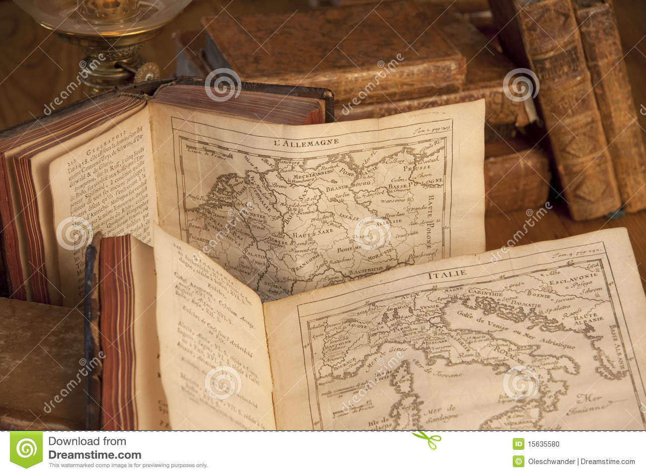 vintage books with old maps stock photo image 15635580