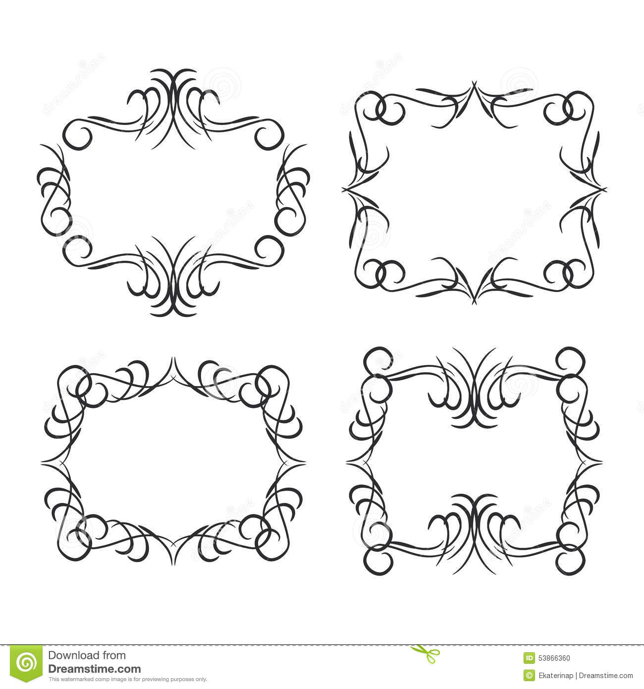 Vintage Border Design Elements Black On White Background Vector