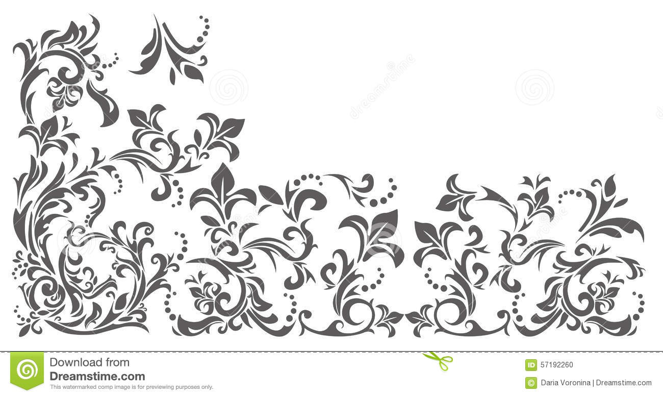 Floral Ornament Vector Free: Vintage Border With Floral Ornament Stock Vector