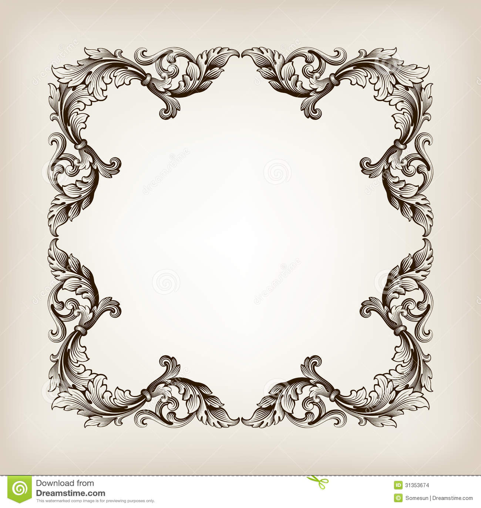Antique Border: Vintage Border Frame Calligraphy Engraving Baroque Stock