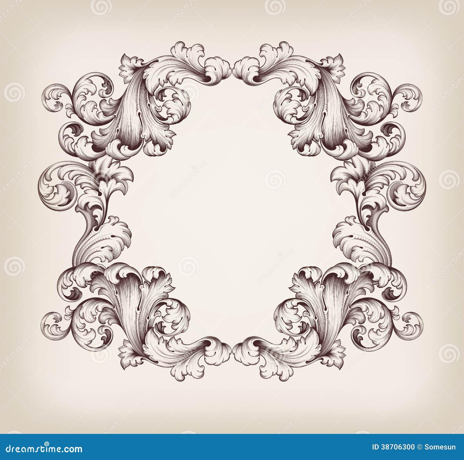 vintage border frame engraving baroque vector