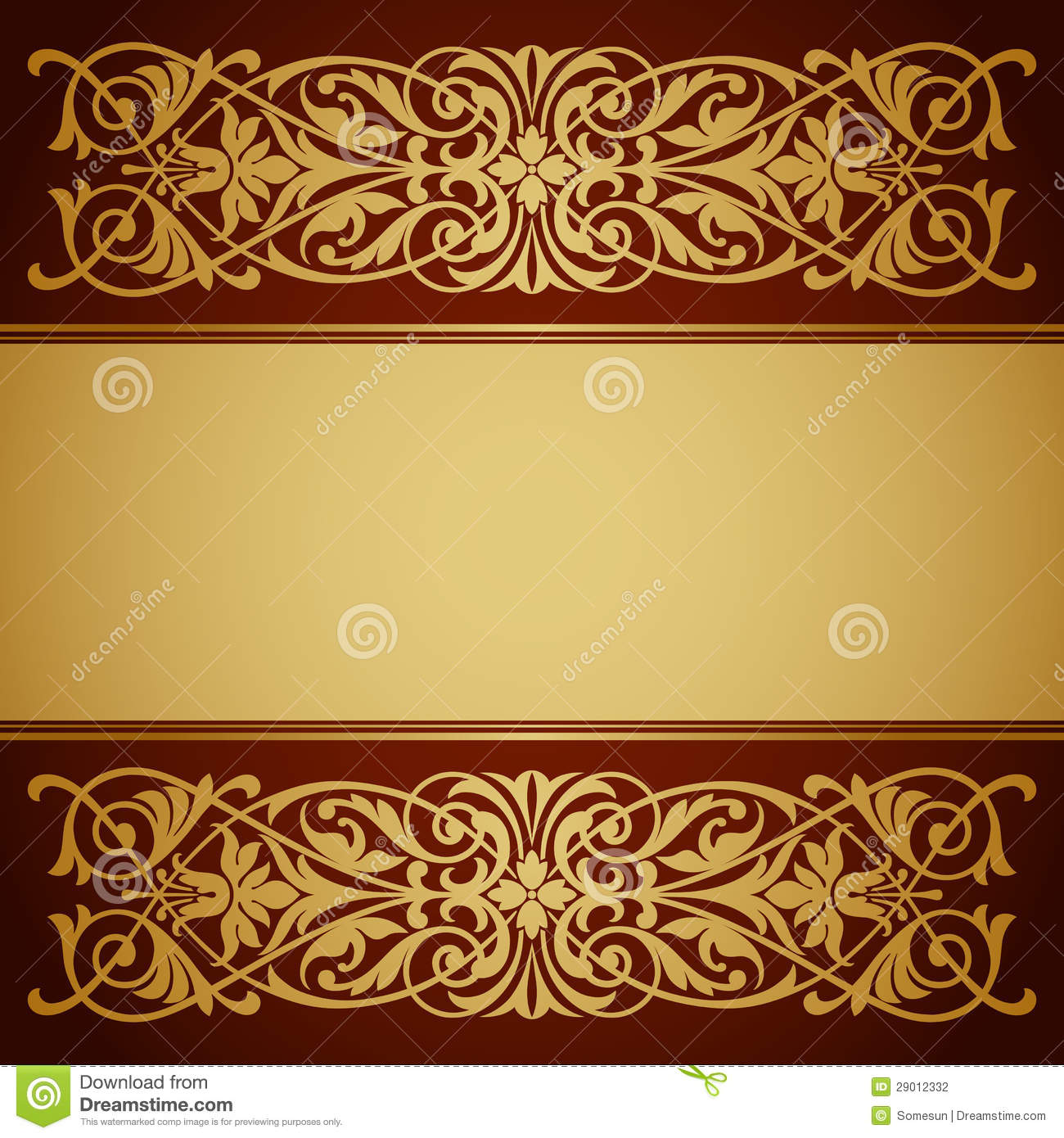 Stock Photography Vintage Border Frame Gold Background Calligraphy Vector Image29012332 on Swirl Border Pattern