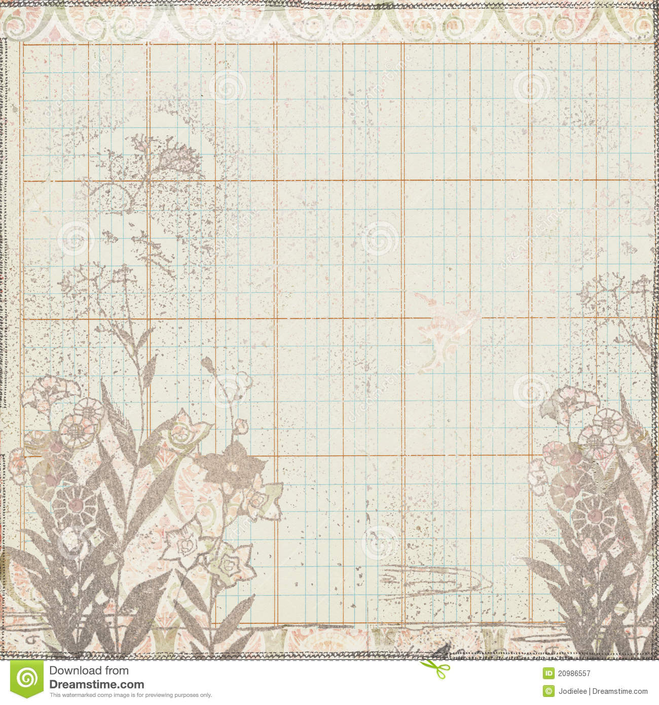 vintage botanical floral frame on ledger paper royalty
