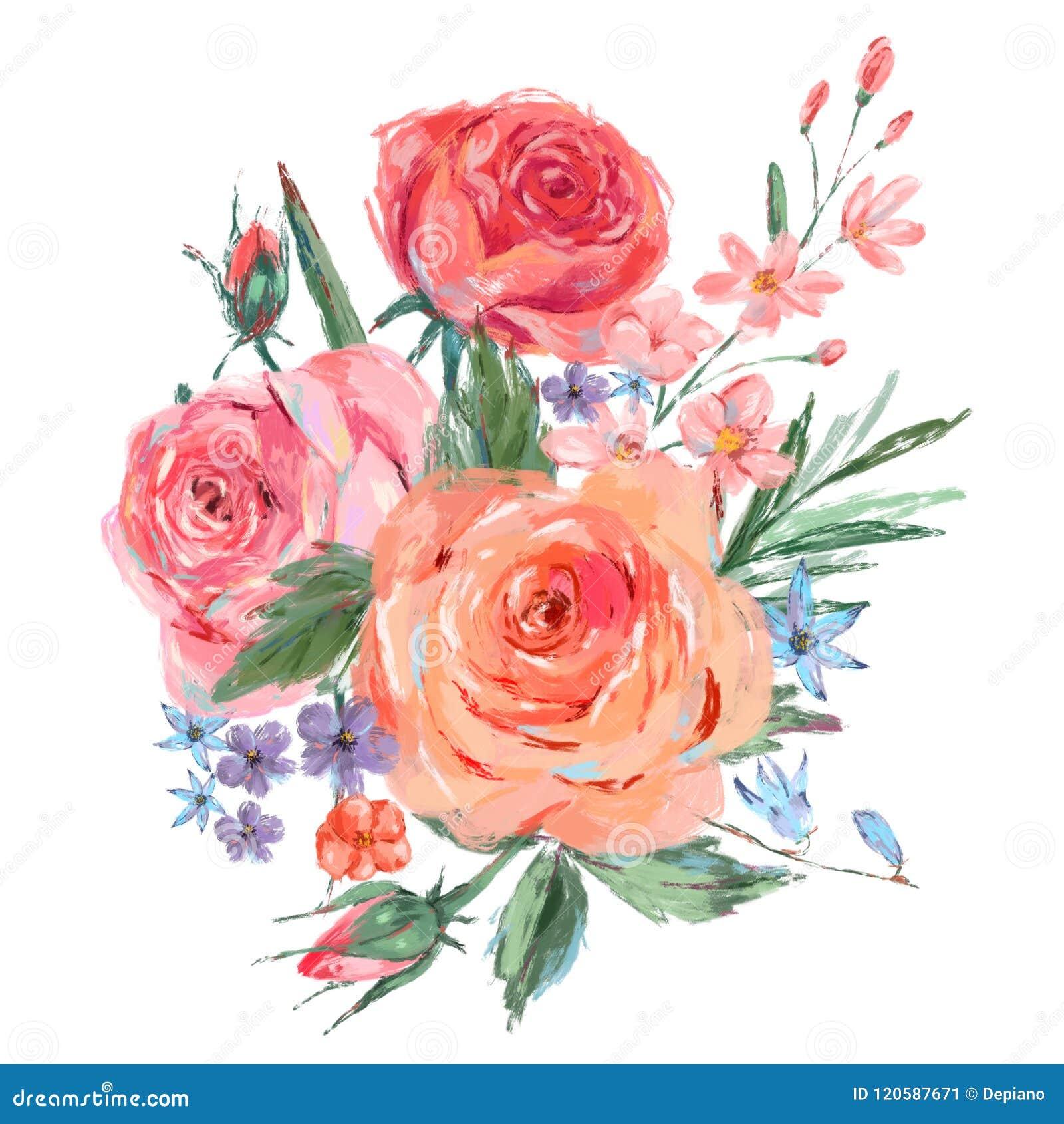 Vintage Bouquet Of Pink Roses Stock Illustration Illustration Of