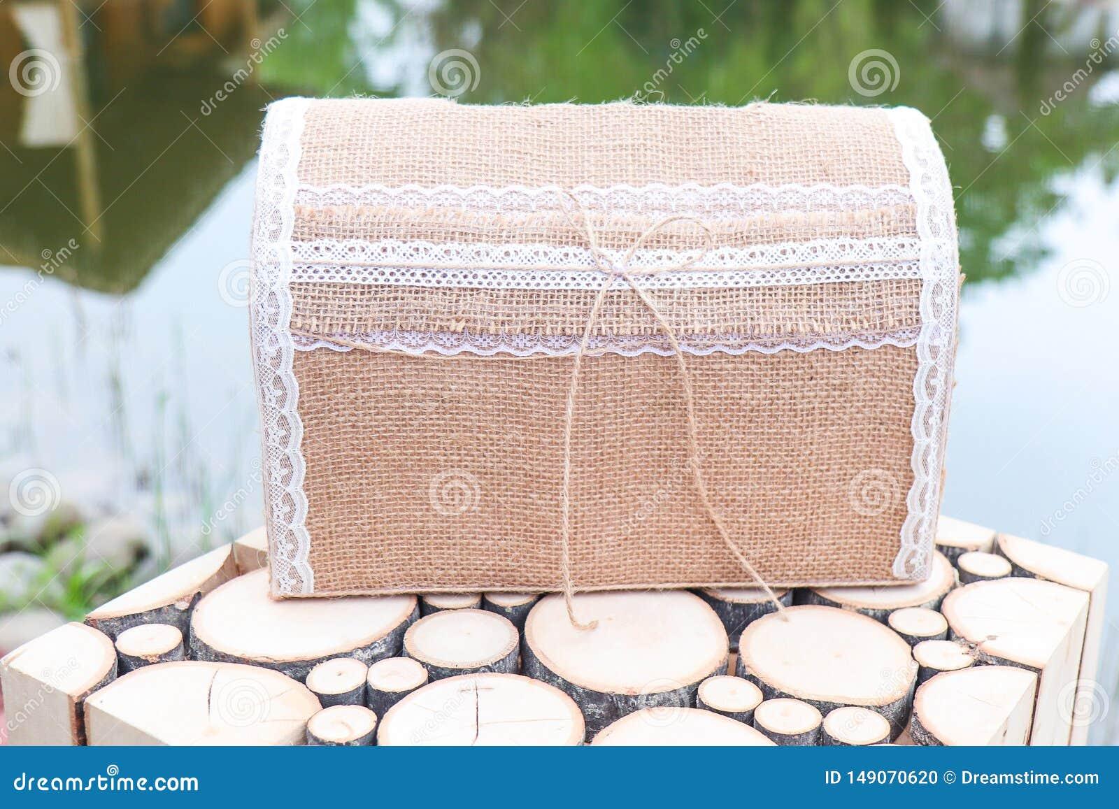 Vintage box for money at the wedding. Handmade Newlyweds Money Box