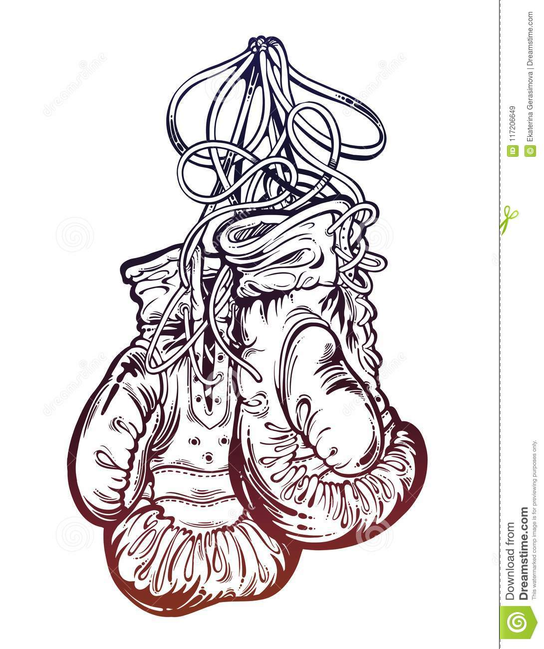 vintage boxing gloves hanging from the wall isolated vector