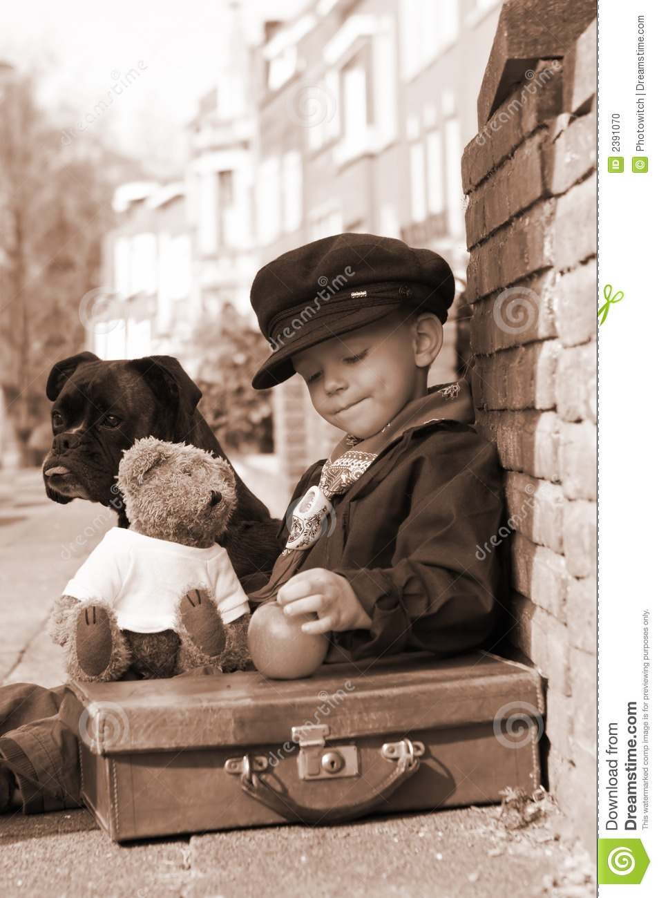 Vintage Boy In Sepia Stock Photo. Image Of Packing