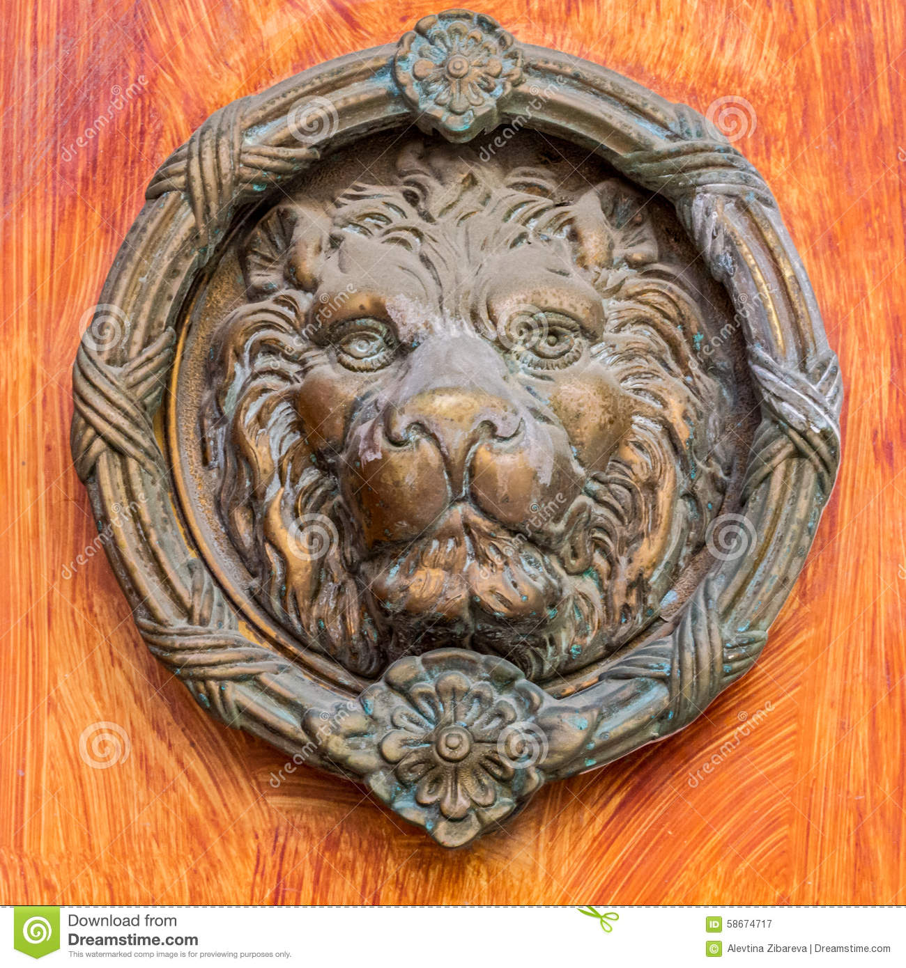 Vintage brass door knocker - lion head - Vintage Brass Door Knocker - Lion Head Stock Image - Image Of