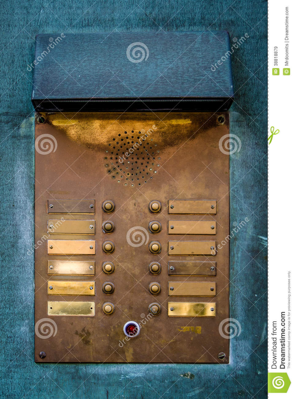 Vintage Brass Intercom Buzzer Stock Photo Image 38818879