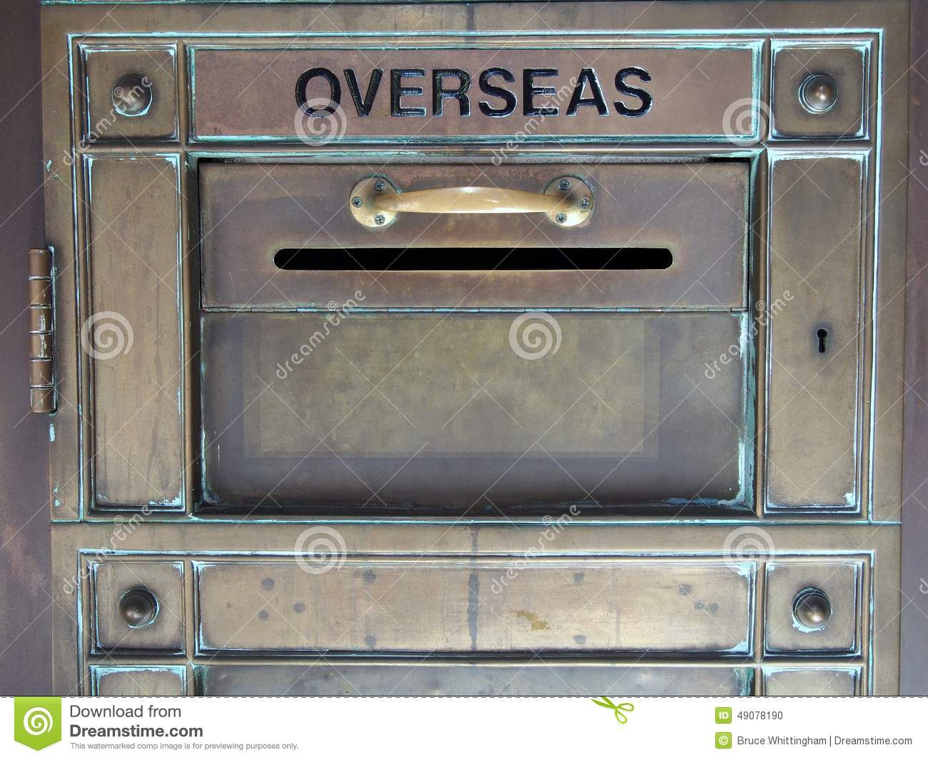vintage brass letter box stock photo