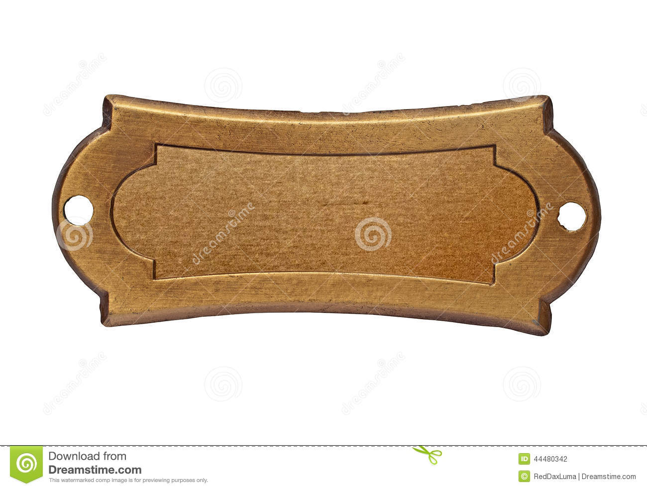 Vintage Brass Name Plate Stock Photo Image 44480342