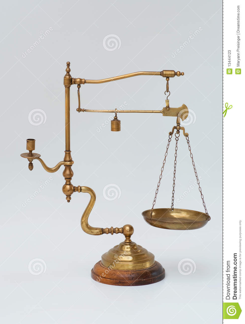 Vintage brass scale with weight and candleholder