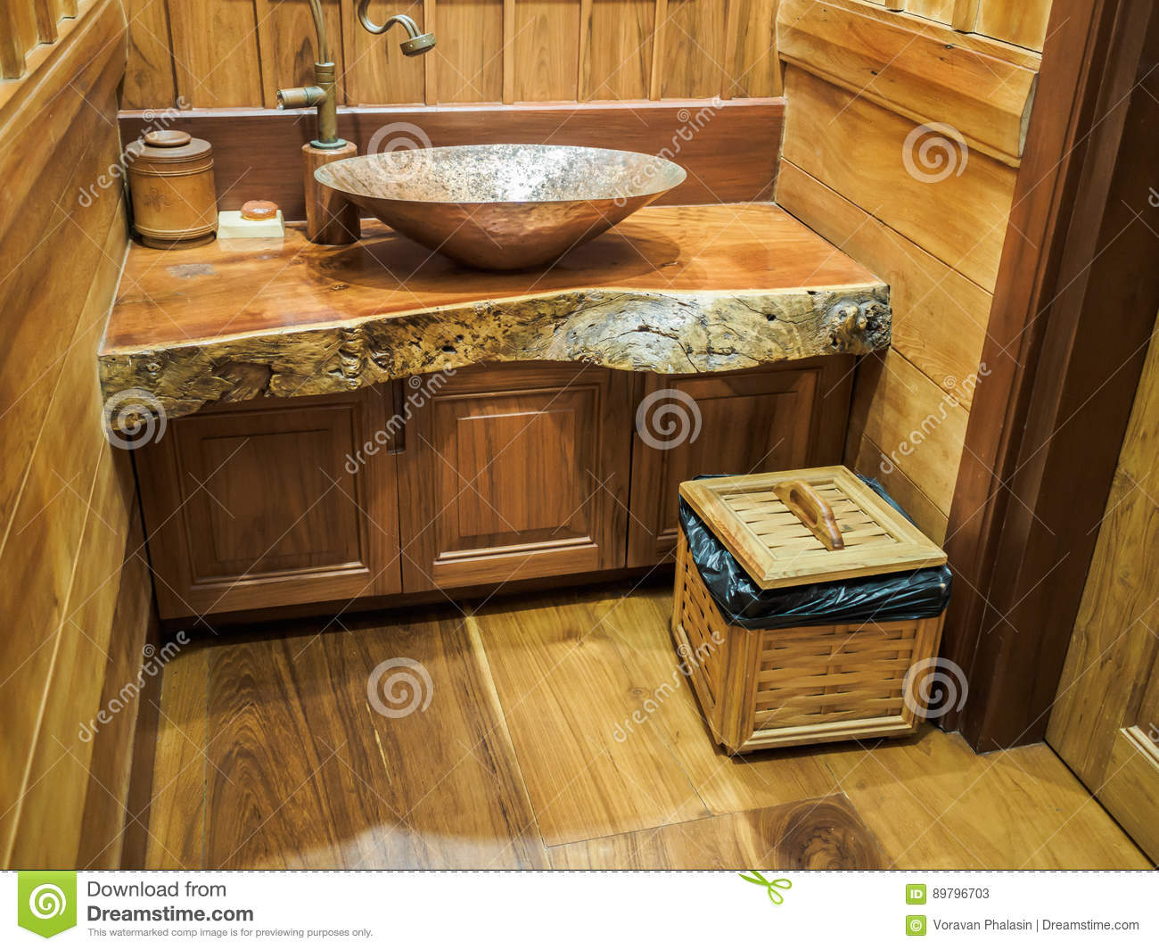 Vintage Brass Wash Basin In Wooden Bathroom Stock Image Image Of Toilet Retro 89796703