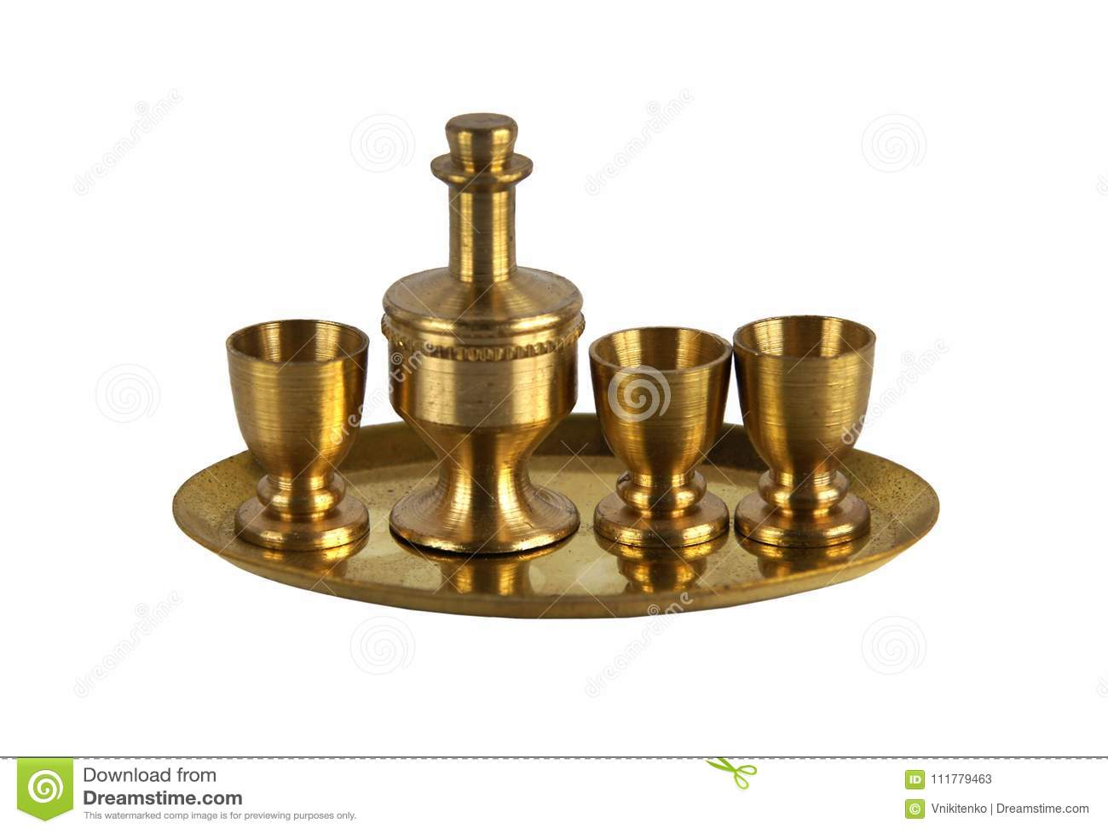 Vintage brass wine service