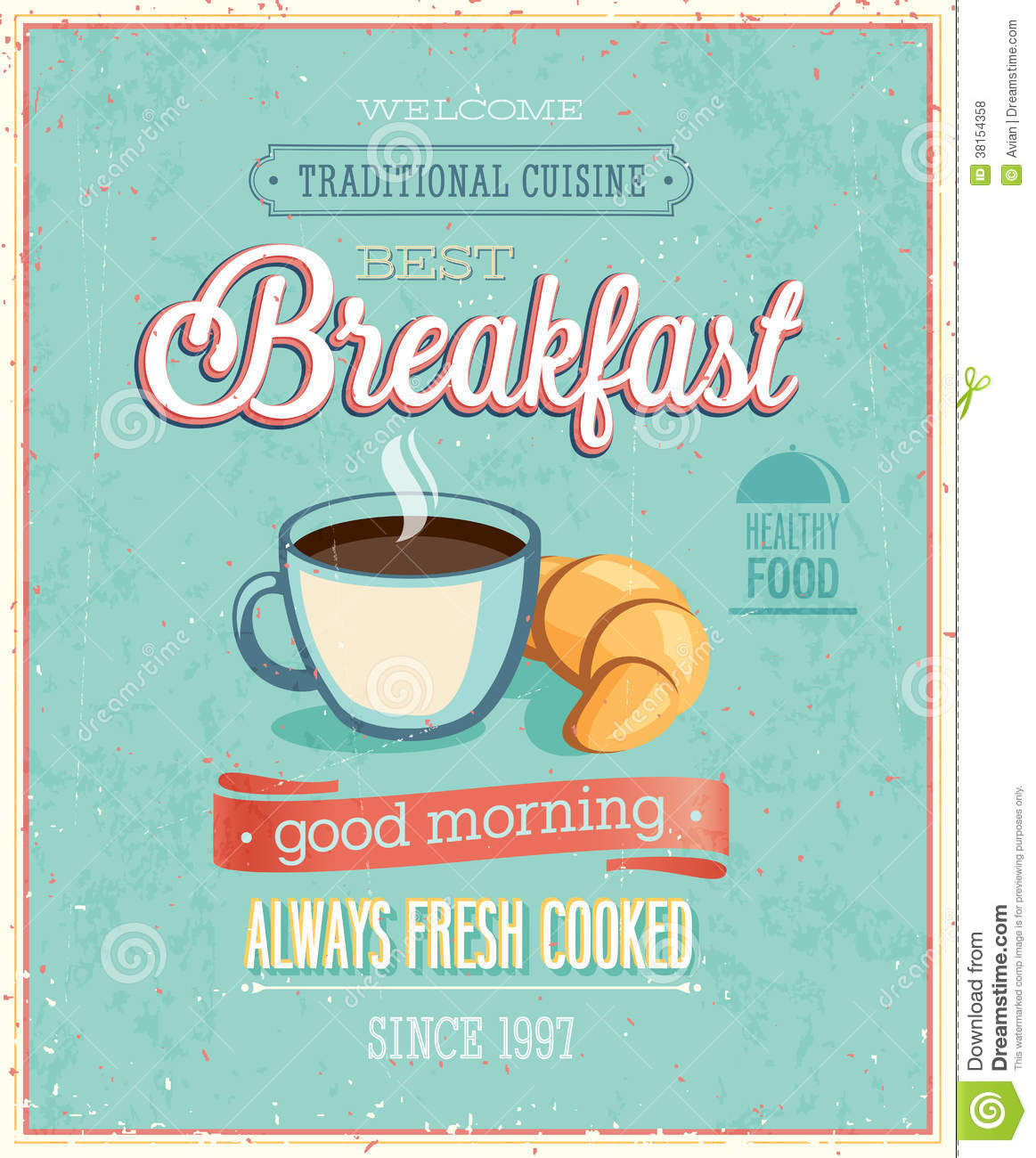 Vintage Breakfast Poster. Royalty Free Stock Photos - Image: 38154358