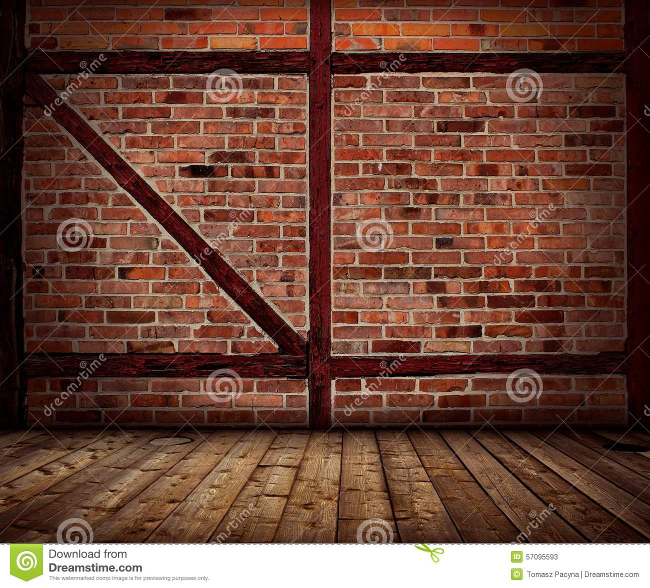 Vintage Brick Wall And Wood Floor Interior Stock Image