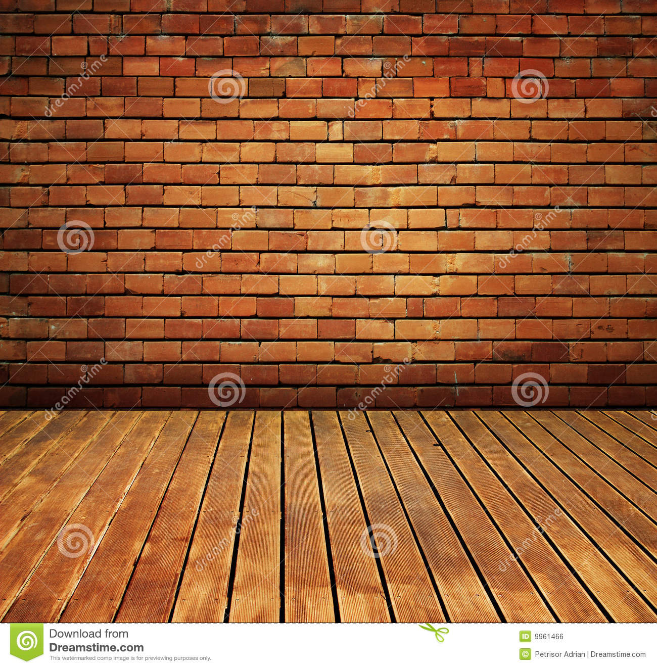 Vintage brick wall and wood floor texture interior stock for Brique de parement interieur