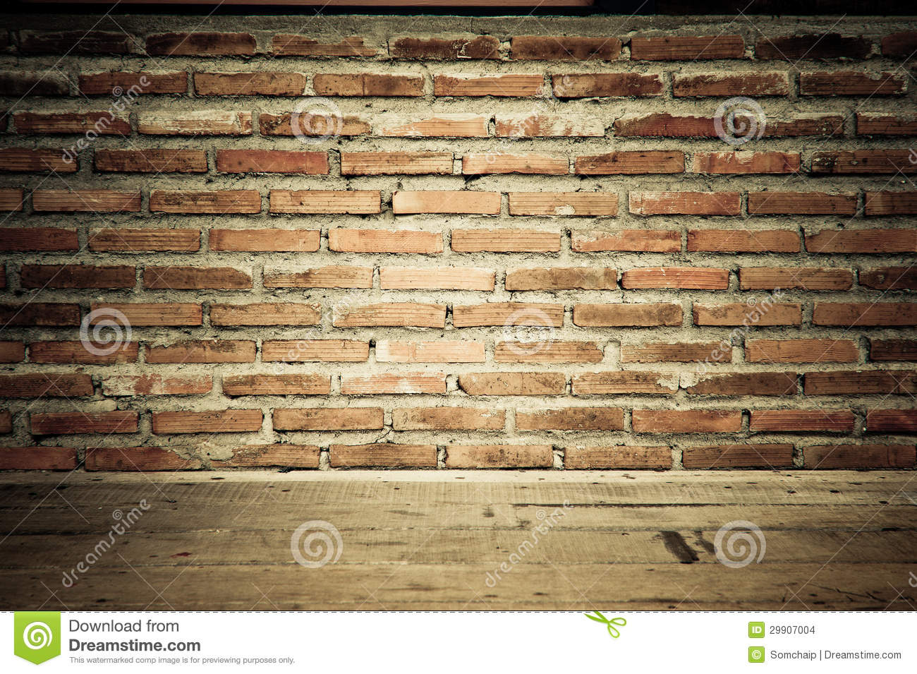Vintage Brick Wall With Wooden Floor Texture Stock Images