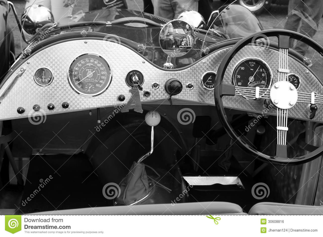 Vintage British Sports Car Interior Royalty Free Stock Image  Image