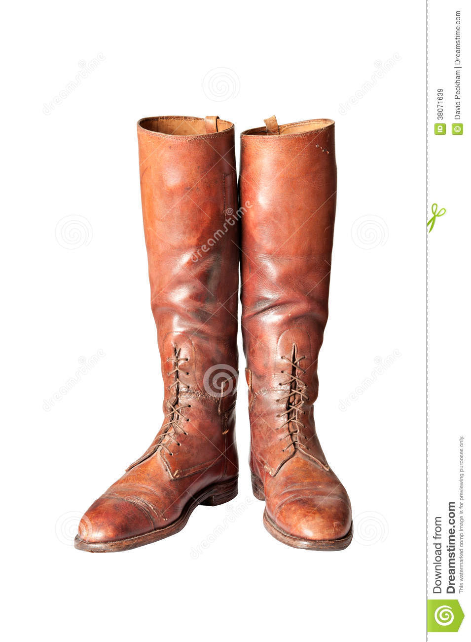 Vintage Brown Knee High Mens Riding Boots On White Royalty