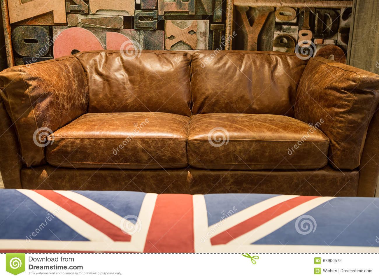 Vintage Brown Leather Sofa Stock Photo Image Of Decor 63900572 ~ Leather Sofa Vintage Style