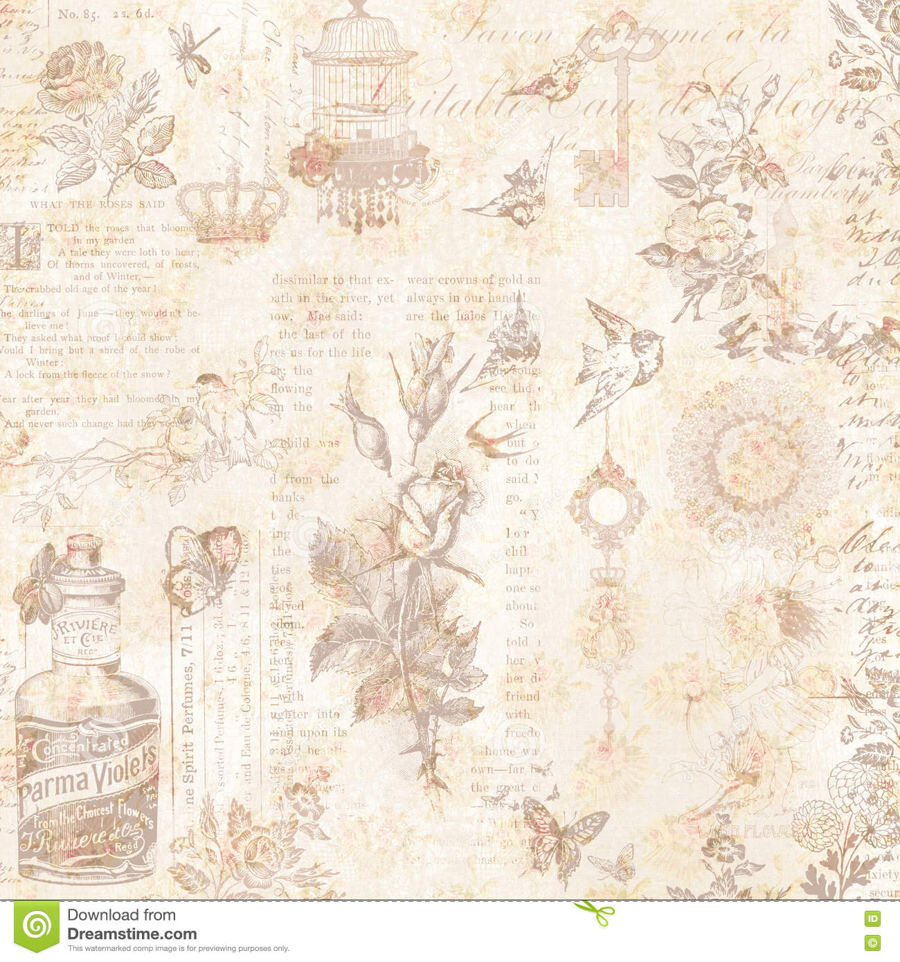 vintage floral brown css html vintage bird and flowers collage background royalty free