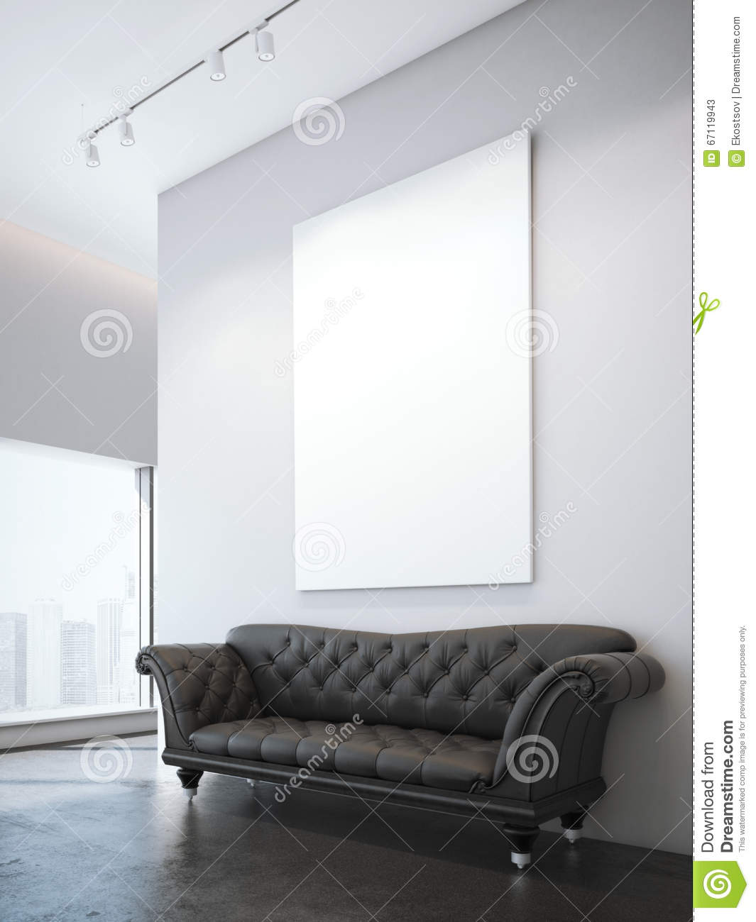 Vintage brown leather sofa and white blank poster in modern interior 3d rendering