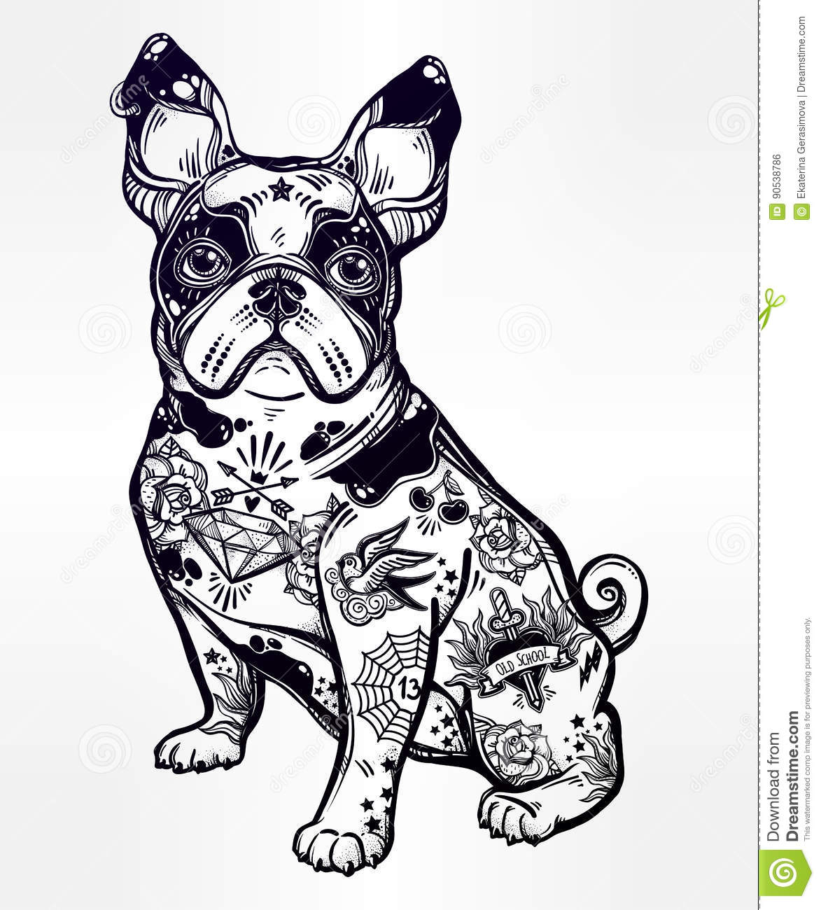 Pug cartoons illustrations vector stock images 2166 for Thoroughbred tattoo lookup